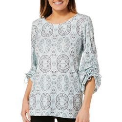 Nue Options Womens Paisley Print Ruched Sleeve Top