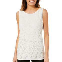 Nue Options Womens Floral Crochet Sleeveless Top