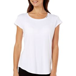 Nue Options Womens Button Accent Cap Sleeve Top