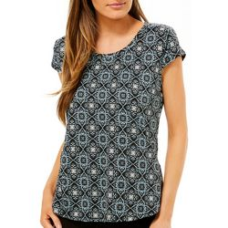 Nue Options Womens Day to Night Tile Print Cap Sleeve Top