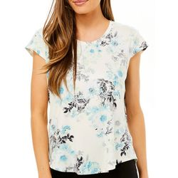 Nue Options Womens Day to Night Feminine Floral Print Top