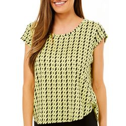 Nue Options Womens Day to Night Geo Print Cap Sleeve Top