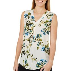 Nue Options Womens Floral Front Pleat Sleeveless Top