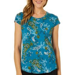 Nue Options Womens FLoral Paisley Cap Sleeve Top