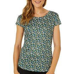Nue Options Womens Ditsy Daisy Day To Night Cap Sleeve Top