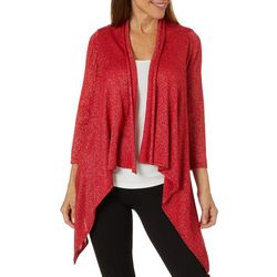 Nue Options Womens Solid Knit Foil Cardigan