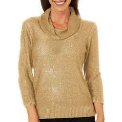 Nue Options Womens Solid Sequin Embellished Cowl Neck Top