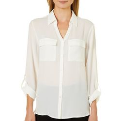 Emaline Womens Solid Roll Tab Button Down Top