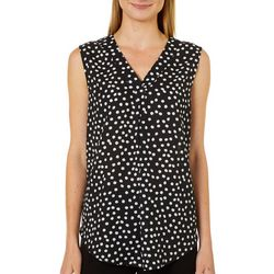 Emaline Womens Polka Dot Sleeveless Top