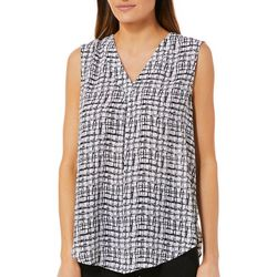 Emaline Womens Grid Print Sleeveless Top