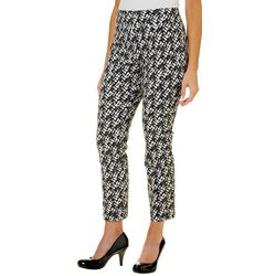 Nue Options Womens Tile Print Pull On Crop Pants