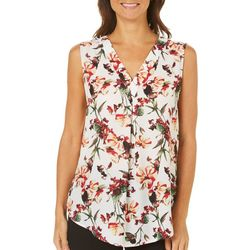 Nue Options Womens Berlin Floral Print Sleeveless Top