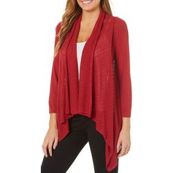 Nue Options Womens Geometric Knit Open Front Cardigan