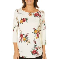 Nue Options Womens Rose Print Ring Neck Top