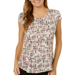 Nue Options Womens Paint Stroke Print Round Neck Top