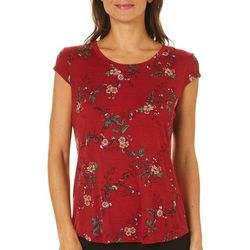 Nue Options Womens Floral Printed Cap Sleeve Top