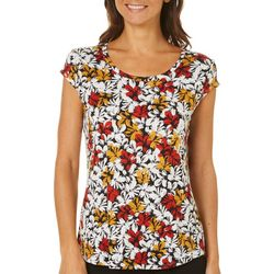 Nue Options Womens Painted Floral Cap Sleeve Top