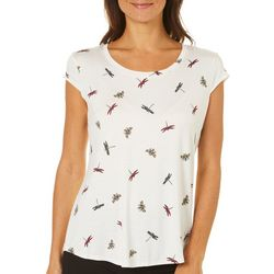 Nue Options Womens Insect Print Cap Sleeve Top