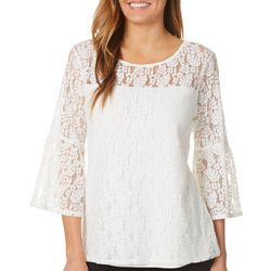 Nue Options Womens Lace Bell Sleeve Top