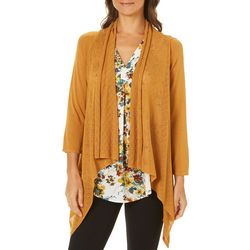 Nue Options Womens Open Knit Waterfall Cardigan