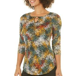 Nue Options Womens Confetti Print Ring Neck Top