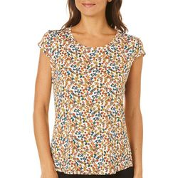 Nue Options Womens Garden Frenzy Cap Sleeve Top