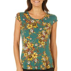 Nue Options Womens Floral Friends Cap Sleeve Top