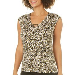 Nue Options Womens Cheetah Print Bar Neck Top