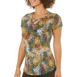 Nue Options Womens Confetti Print Crisscross Top