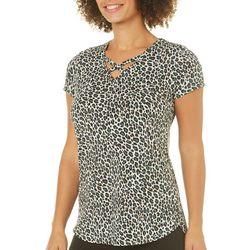 Nue Options Womens Cheetah Print Crisscross Top