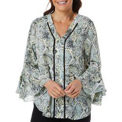 Nue Options Womens Snakeskin Print V-Neck Bell Sleeve
