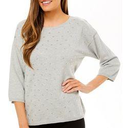 Nue Options Womens Solid Heathered Grommet Detail Sweater