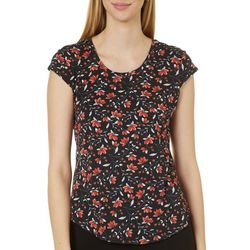 Hearts of Palm Womens Floral Vines Cap Sleeve Top