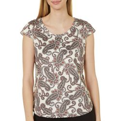 Hearts of Palm Womens Paisley Print Cap Sleeve Top