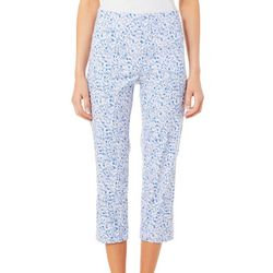 Nue Options Womens Tulum Floral Pull On Crop Pants