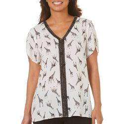 Nue Options Womens Crochet Giraffe Print Top