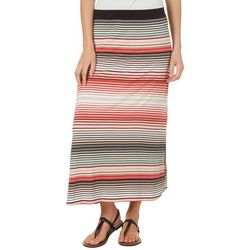 Nue Options Womens Striped Side Slit Maxi Skirt