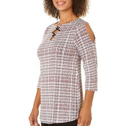 Nue Options Womens Checkered Lace-Up Cold Shoulder Top