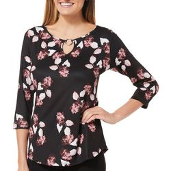 Nue Options Womens Leafy Floral Ring Neck Top