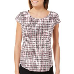 Nue Options Womens Checkered Paint Cap Sleeve Top