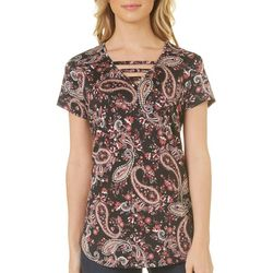 Nue Options Womens Paisley Print Ladder Neck Top