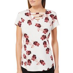 Nue Options Womens Floral Print Ladder Neck Top