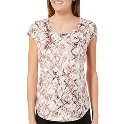 Nue Options Womens Snake Print Cap Sleeve Top