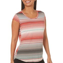 Nue Options Womens Striped Scoop Neck Top