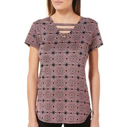 Nue Options Womens Geo Medallion Ladder Neck Top