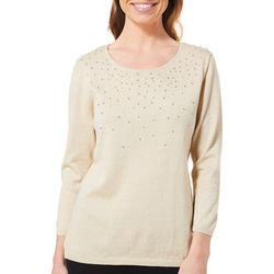 Nue Options Womens Embellished Pearl Glitter Sweater