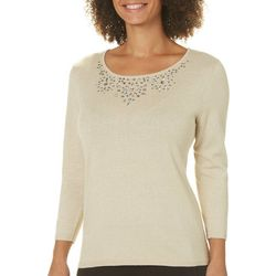 Nue Options Womens Jeweled Neck Glitter Sweater