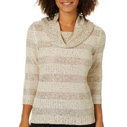 Nue Options Womens Glitzy Cowl Neck Sweater