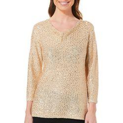 Nue Options Womens Glitzy Drape Neck Sweater