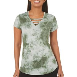 Nue Options Womens Tie Dye Caged Neck Top